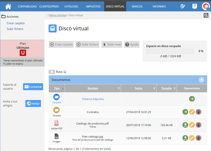 Menu Disco Virtual