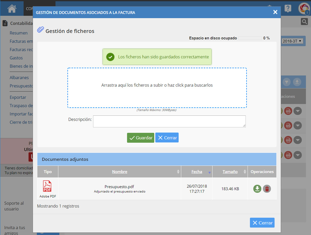 Asociar fichero a Factura